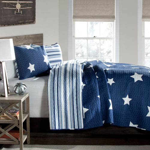 Lush Decor Star Navy Two-Piece Twin Quilt Set