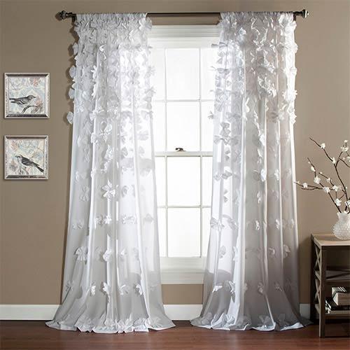 Lush Decor Riley White 84 x 54-Inch Curtain Single Panel