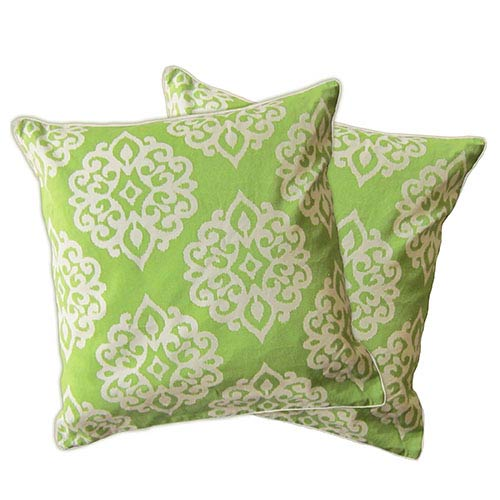 Lush Decor Sophie Herbal Green Zipper Pillow Cover, Set of Two