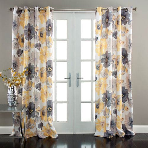 Leah Yellow and Gray 84 x 52-Inch Curtain Panel Pair
