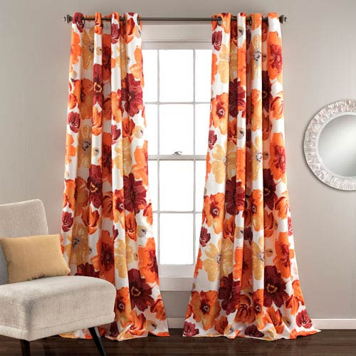 Leah Red and Orange 84 x 52-Inch Curtain Panel Pair