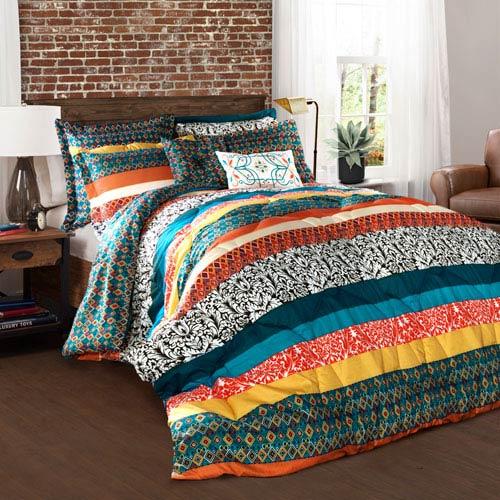 . Lush Decor Boho Stripe Multicolor Seven Piece Full Queen Comforter Set