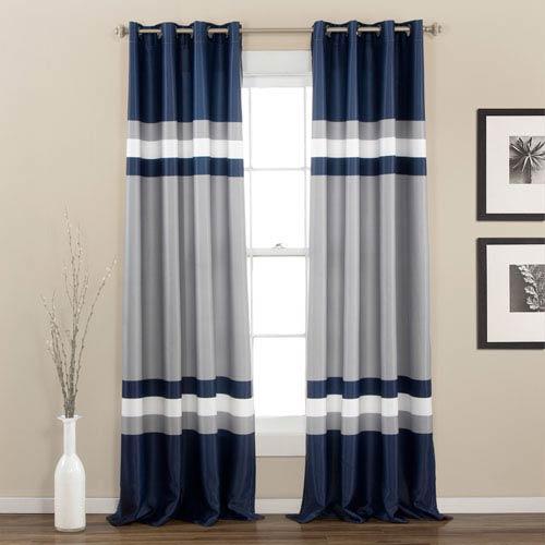Alexander Navy 84 x 52-Inch Curtain Panel Pair