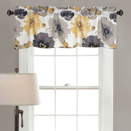 Lush Decor Leah Yellow and Gray 18 x 52-Inch Valance