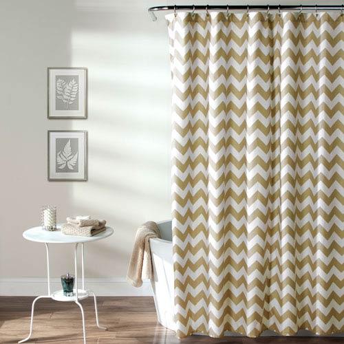 Lush Decor Chevron Taupe Shower Curtain