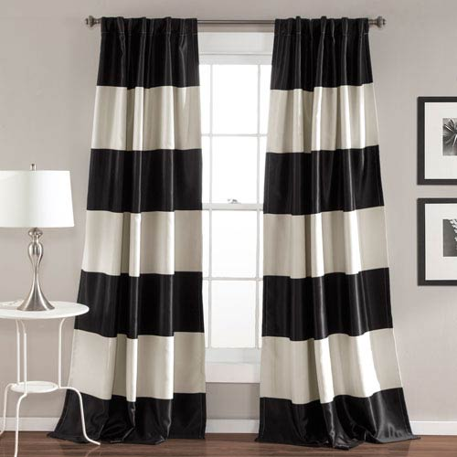 Montego Black Stripe 84 x 52-Inch Window Curtain Set