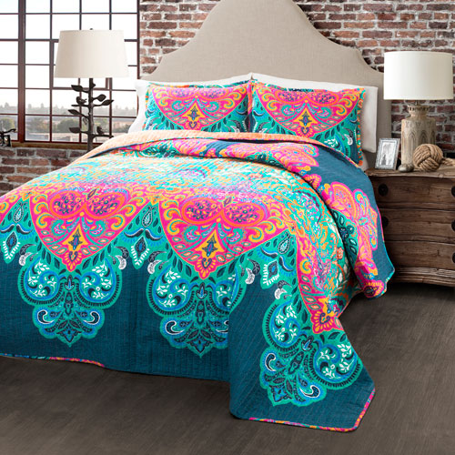 Boho Chic Turquoise and Navy Three-Piece Full/Queen Quilt Set