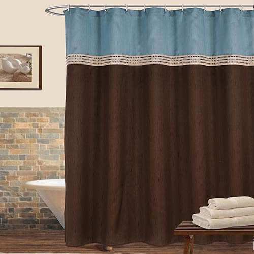 Terra Blue and Brown Shower Curtain