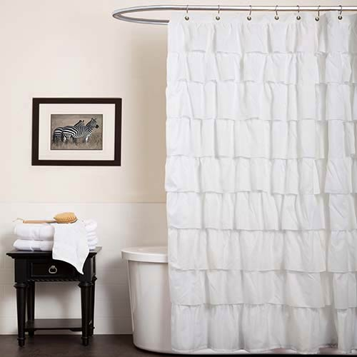 Ruffle White Shower Curtain