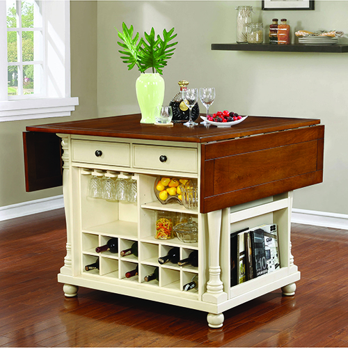 Brown and Buttermilk Two-Drawer Kitchen Island with Drop Leaves
