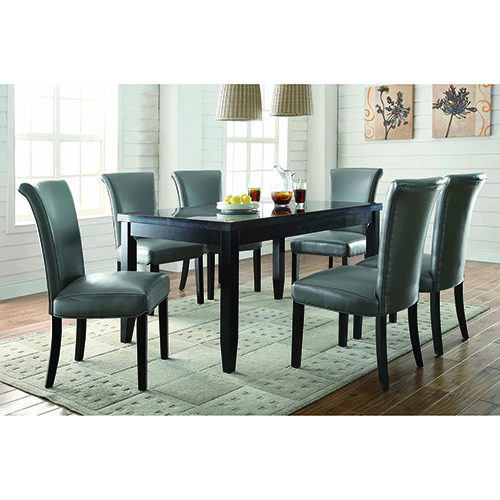 Black and Grey Dining Upholstered Side Chairs, Set of 2
