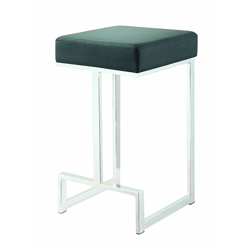 Black and Chrome Square Counter Stool