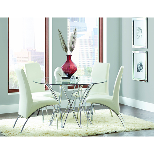 Round Dining Table Chrome Base