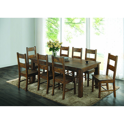Rustic Golden Brown Dining Side Chairs, Set of 2