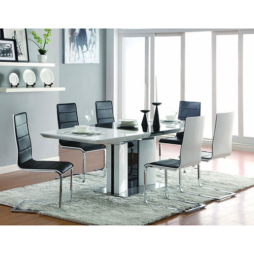 White and Black Rectangular Dining Table