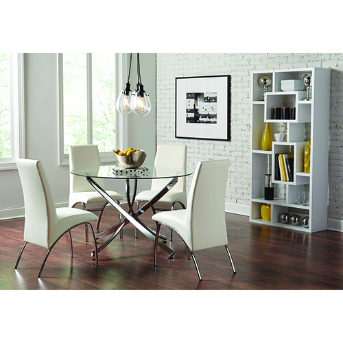 White and Chrome Dining Chairs, Set of 2