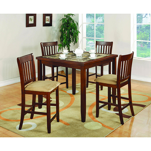 Coaster Furniture Red Brown and Tan 5-Piece Counter Height Dining Set