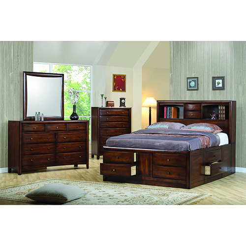 Warm Brown Queen Bookcase Bed with Underbed Storage Drawers
