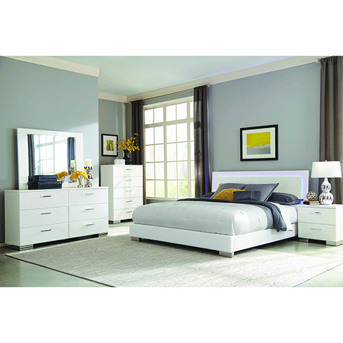 White Queen Low Bed with LED Backlight