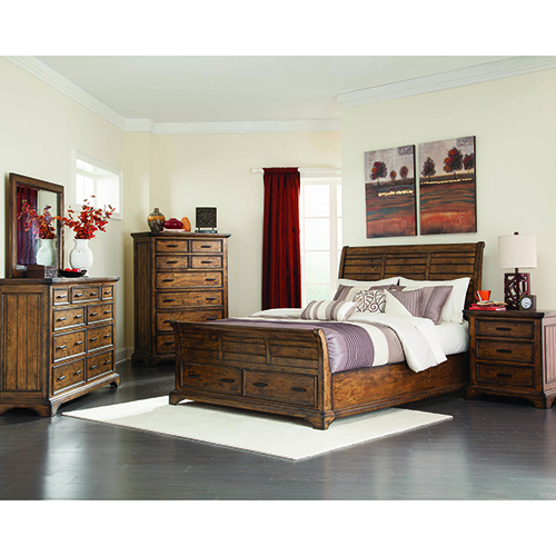 Vintage Bourbon Two-Drawer Eastern King Sleigh Bed