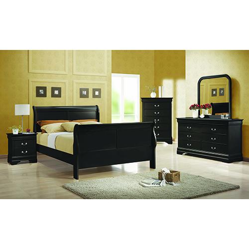 Black Queen Sleigh Panel Bed