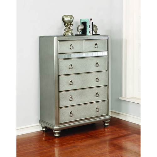 Metallic Platinum Bedroom 6-Drawer Chest with Stacked Bun Feet