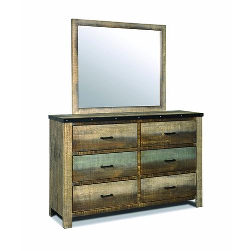 Antique Multi-color Six-Drawer Dresser