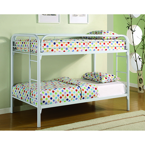 White Twin Bunk Bed with Built-In Ladder