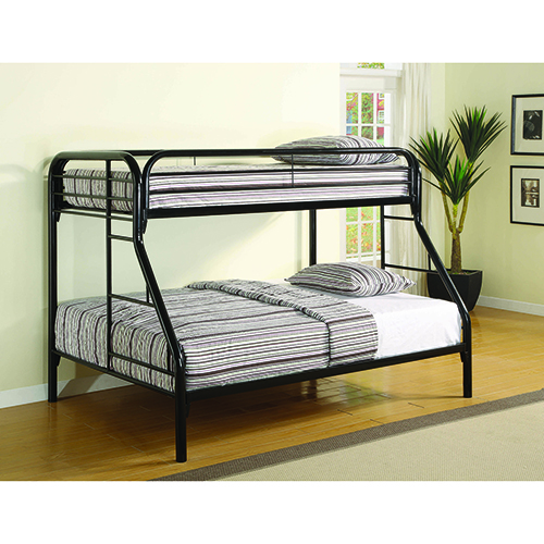 Black Twin over Full Bunk Bed with Side Ladder