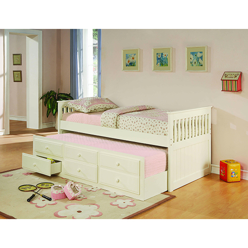 White Twin Captains Bed with Trundle and Storage Drawer