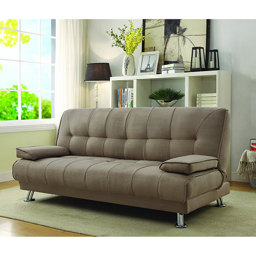 Tan Convertible Sofa Bed with Removable Armrests