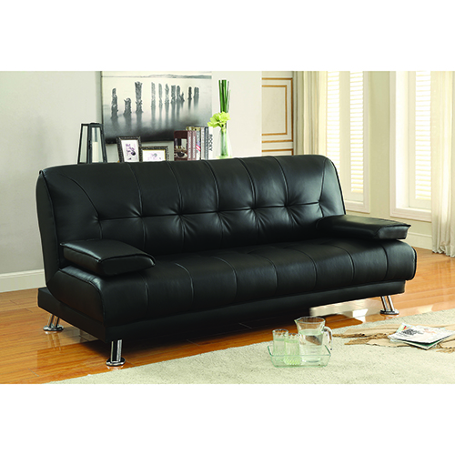 Black Convertible Sofa Bed with Removable Armrests