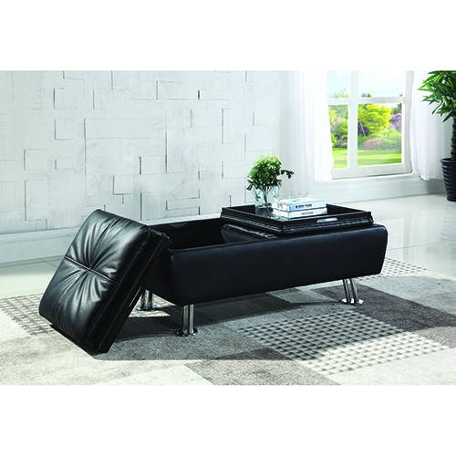 Black Faux Leather Storage Ottoman with Reversible Tray Tops