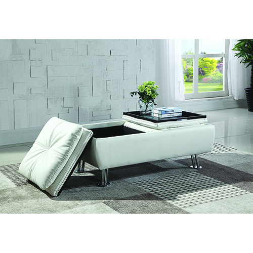 White Faux Leather Ottoman with Reversible Tray Tops