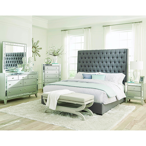 Grey Upholstered Eastern King Bed with Diamond Tufting