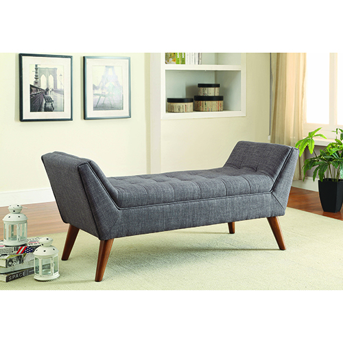 Grey and Brown Flared Arms Bench