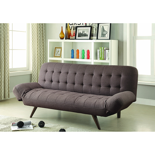 Brown Sofa Bed with Tufting and Cone Legs