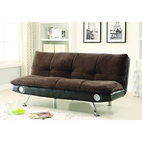 Brown Sofa Bed with Built-In Bluetooth Speakers