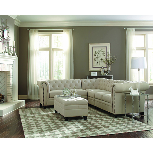 Oatmeal Button-Tufted Sectional Sofa
