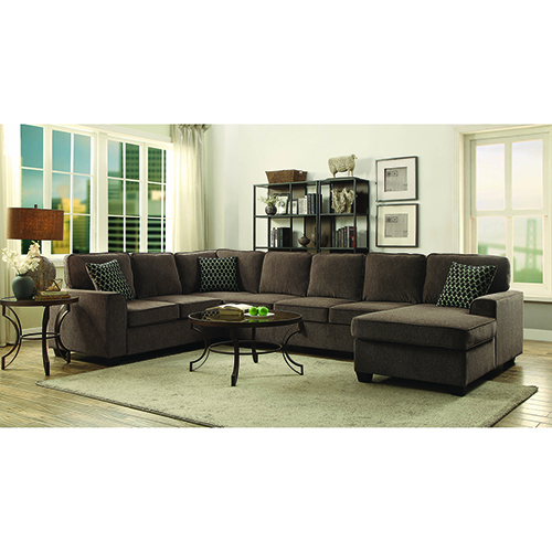 Brown Sectional with Chaise and Built-in Storage