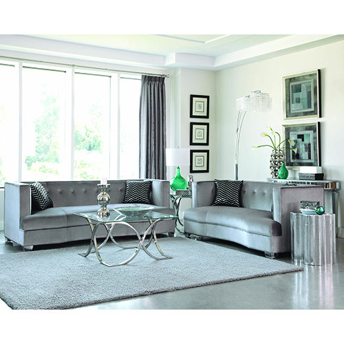 Silver and Chrome Velvet Sofa