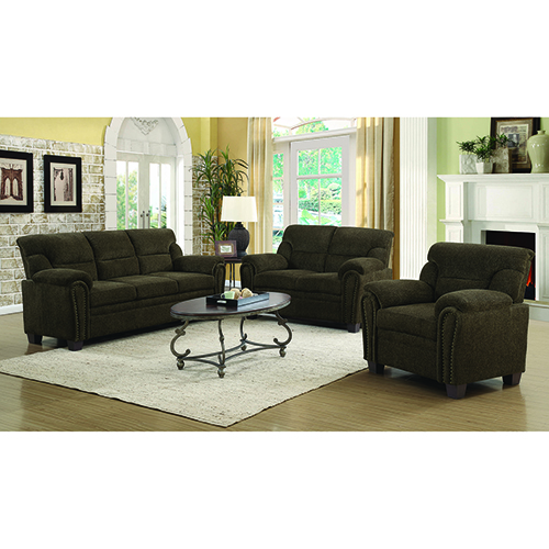 Brown Padded Sofa with Nail Heads