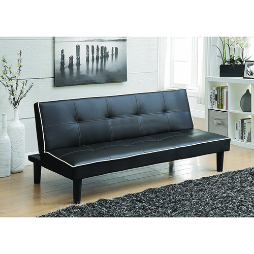 Black Sofa Bed with Contrast Piping