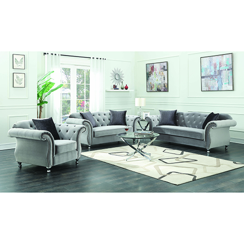 Silver Loveseat with Button Tufting