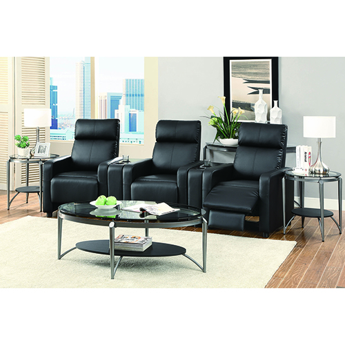 Black Home Theater Push Back Recliner