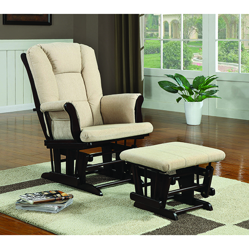 Beige and Espresso Upholstered Glider with Ottoman