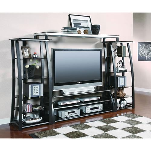 Matte Black and Silver Open Five-Shelf Media Tower