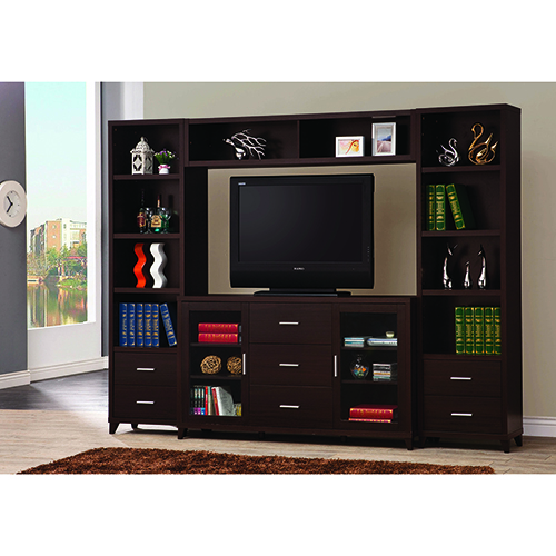 Cappuccino 2-Door TV Stand with Three Storage Drawers