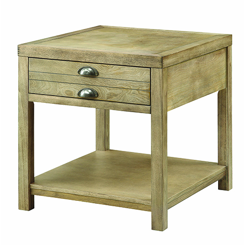Light Oak End Table with Storage Drawer