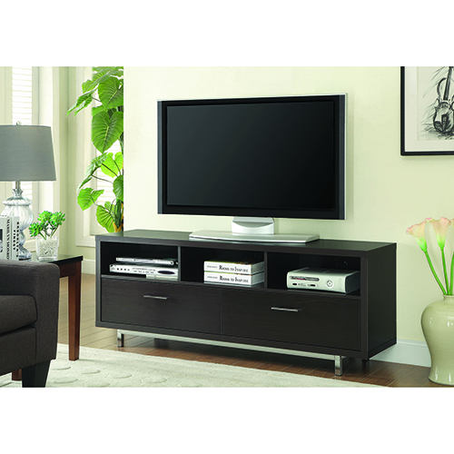 Cappuccino Low TV Console with 3 Storage Compartments and 2 Drawer
